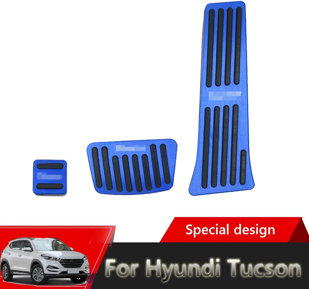 Great-luc High quality aluminium alloy Pedal Covers,Accelerator Pedals Brake Foot Pedal Pads with Rubber Pull Tabs 3 pieces//set 2015-2019 blue for Hyundi Tucson