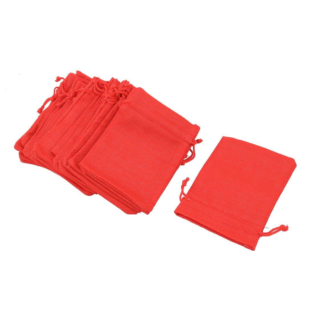 sourcingmap® Cotton Linen Outdoor Drawstring Design Jewelry Storage Bag Pouch 20pcs Dark Blue a17061000ux0286