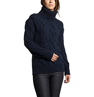 9920275844 Cable Knit Turtleneck Jumper Winter Collection Women Navy Blue at Amazon Women s  Clothing store