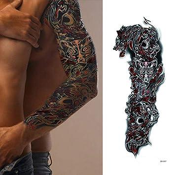 1 Pieza Diseño De Lobo Temporal Pierna Arte Corporal Tatuajes De ...
