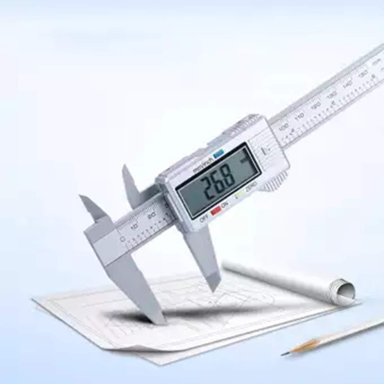 FairytaleMM Electronic Digital Display Vernier Caliper 0-150Mm Plastic Digital Display Caliper Measurement Tool Inner Diameter-Silver/&White