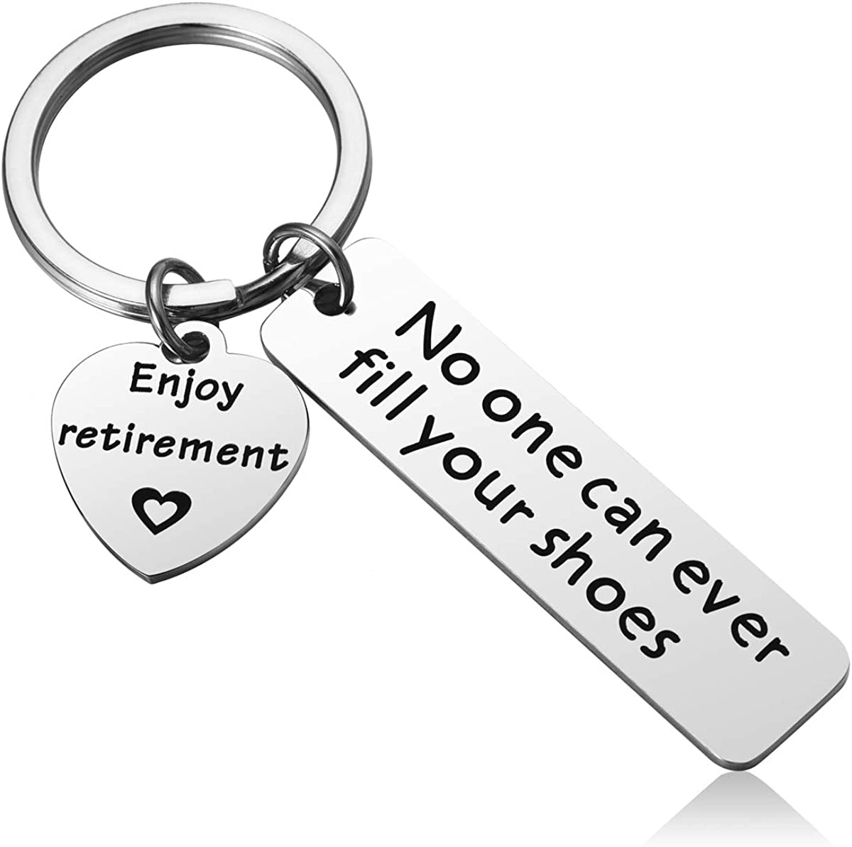 MIXJOY Retirement Keychain Gifts for Coworker - No One Can Ever Fill Your Shoes Mens Retirement Gifts