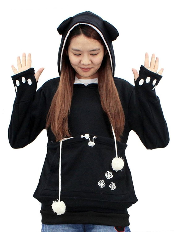 Amazoncom SAIANKE Womens Hoodies Pet Holder Cat Dog Kangaroo - Hoodie with kangaroo pouch is the perfect cat accessory