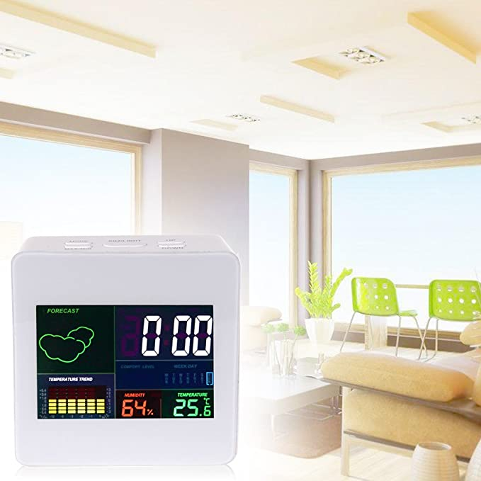 Amazon.com: Alarm Clock - Multifunction Colorful Display Thermometer Hygrometer Lcd Termometro Desk Snooze Function Weather - Temperature Ticking Manual ...