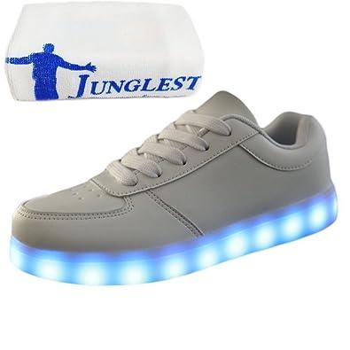 [Presente:pequeña toalla]Blanco - blanco EU 32, manera LED llanas LED moda carga colores para Zapatillas zapatos adultos Casual hombres zapatos par Unisex mujeres de JUNGLEST