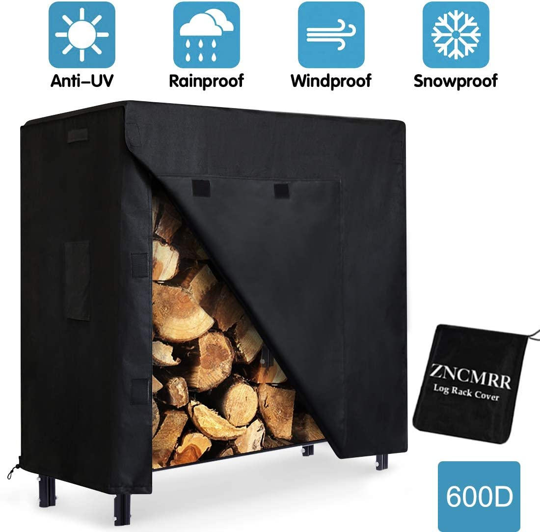 ZNCMRR Firewood Log Rack Cover, 4 Feet 600D Oxford Heavy Duty Outdoor Waterproof All-Weather Outdoor Protection for Firewood Rack Cover, 48 x 24 x 42 4 Feet, Black