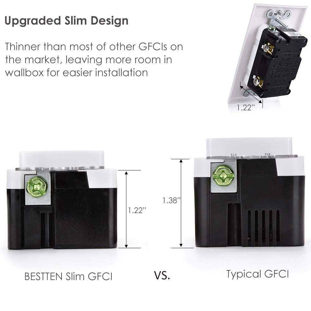 [10 Pack] BESTTEN 15A WR GFCI Outlets, Slim Outdoor Weather Resistant GFIs, Tamper Resistant Receptacles with LED Indicator, TR Ground Fault Circuit Interrupter with Decor Wall Plate, UL Listed, White by BESTTEN (Image #3)