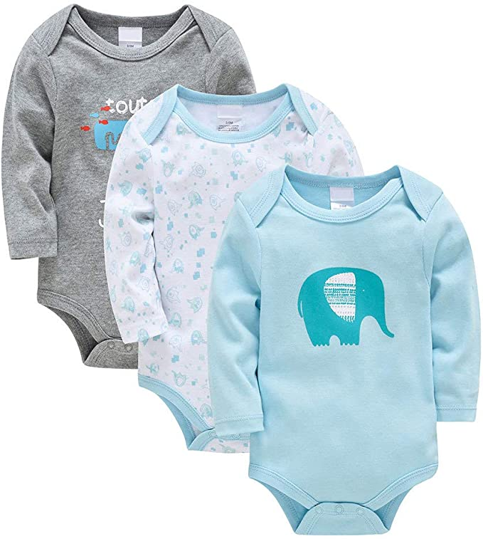 Bebé Body Pack de 3 - Mono Niños Mameluco Manga Larga para Niñas Pijama Trajes de Invierno Algodón Pelele Ropa: Amazon.es: Ropa y accesorios