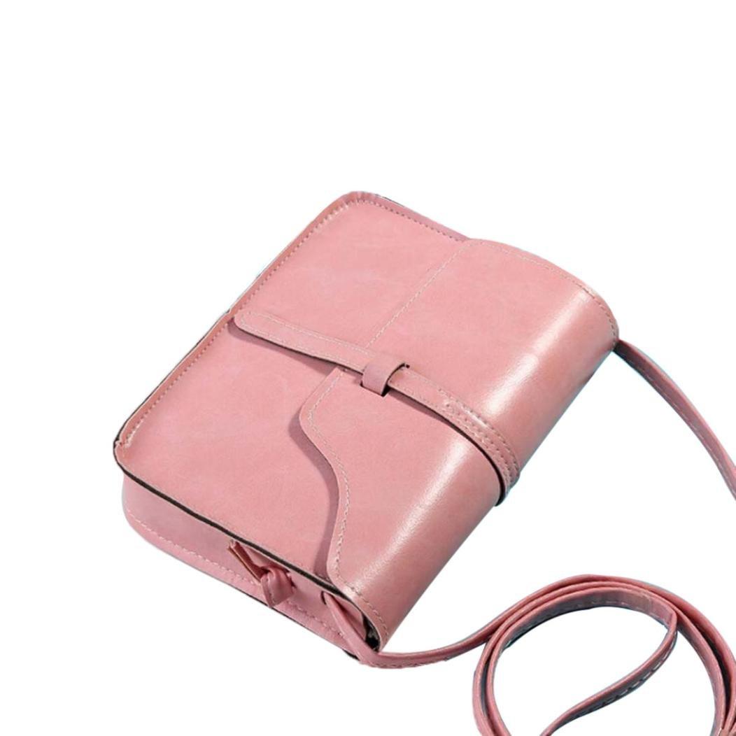 Rakkiss Vintage Purse Bag Leather Cross Body Shoulder Messenger Bag Leather Vintage Tassel Shoulder Bags (One_Size, Pink) by Rakkiss_Clearance Bag (Image #1)
