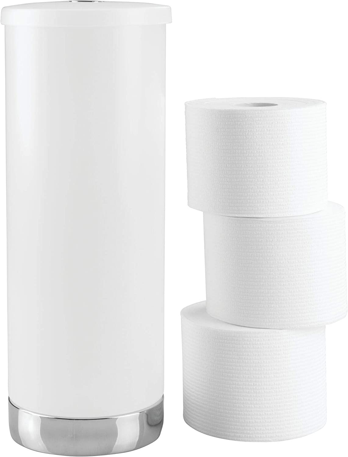 Idesign Aria Plastic Toilet Tissue Roll Reserve Organizer For Bathroom Vertical Free Standing Compact Organizer Holds 3 Rolls Of Toilet Paper Clear Home Kitchen