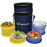Oliveware Plastic Smart Lunch Bag, 2 Big And 2 Small, Set Of 4 Pieces, Blue