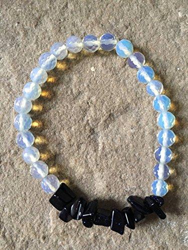 JP_Beads Blue Goldstone Gemstone chip & 6mm Faceted Opalite Bracelet