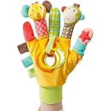 Fehn 074604 Spielhandschuh Safari / Fingerpuppen-Handschuh Affe und Elefant mit Rassel und Quietsche für Babys und Kleinkinder ab 0+ Monaten