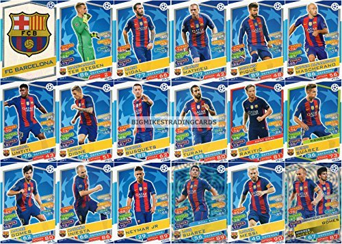 2016/17 MATCH ATTAX CHAMPIONS LEAGUE FC BARCELONA TEAM SET 18 CARDS