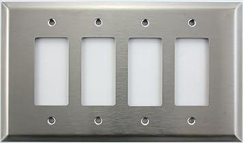 Four Gang   302-4-W Wall Plate White Blank Decora
