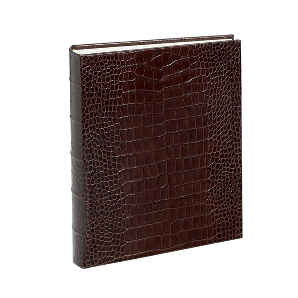 Crocodile Genuine Italian Leather Bound Album, 100 Pages, Photo Squares Included, 9-1/8'' x 12-1/4''