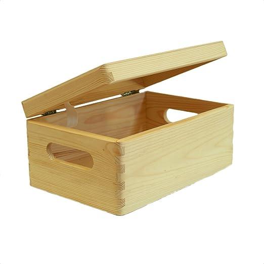 Wood Box - Caja de Madera con Tapa, Color Natural: Amazon.es: Hogar