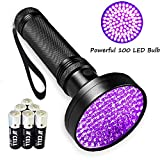 Negro Luz UV Ultravioleta linterna, luces 1# mejor 100LED Pet Detector de Orina 9,1m Flood efecto Scorpion Linternas (pilas AA incluidas)..., 100 LED