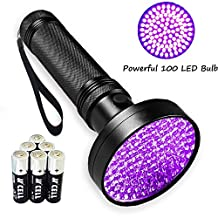 Black Light UV Flashlight , Ultraviolet Lights 1# Best 100 LED Pet Urine Detector 30FT Flood Effect Scorpion Flashlights (AA Batteries Included)