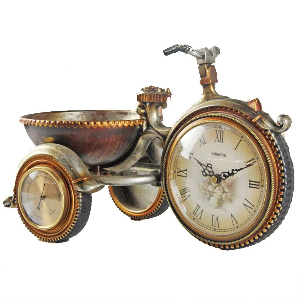 HONGNA European Retro Plastic Clocks Living Room Clock Tricycle Decorative Ornaments Personality Creative Table Clock Art Table Clock Environmentally Friendly Material 22.535cm (Size : 22.535cm) by HONGNA (Image #1)