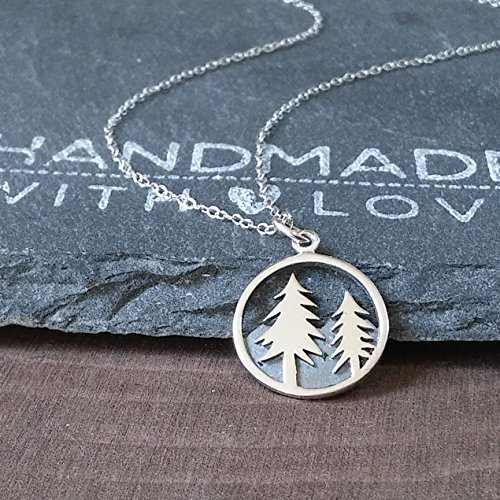 Sterling Silver Tree and Mountain Pendant Necklace, (Sterling Trees)