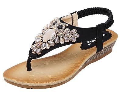 DQQ Damen Perlen Ankle Strap String Sandale, Beige - Beige - Größe: 37.5