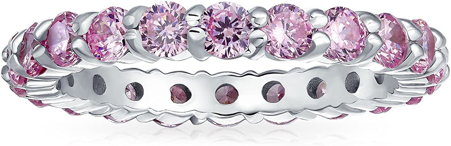 Cubic Zirconia Pink CZ Band Stackable Eternity Anniversary Wedding Band Ring For Women 14K Gold Plated Sterling Silver