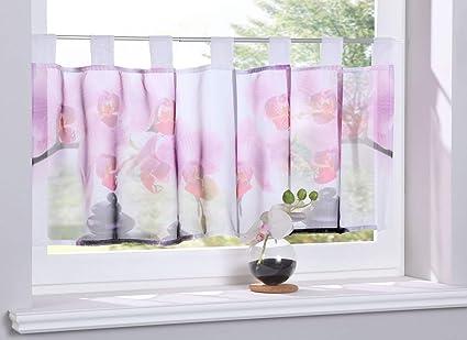 Gardinenbox Scheibengardine »Digital Druck« Voile Kurzgardine SChlaufen  Transparent Digital Druck Küche Fenster Modern HxB 40x120 cm Orchidee, ...