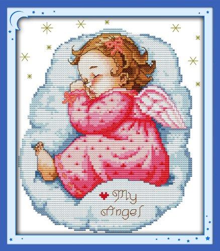 Benway Stamped Cross Stitch Kit Asleep Angel Baby Girl 11 Co