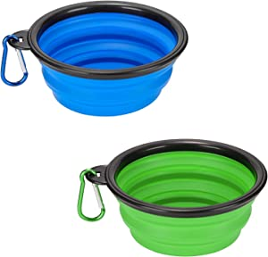 Emoly 2 Pack Large Size Collapsible Dog Bowl, Food Grade Silicone BPA Free, with Carabiner Clip Foldable Expandable Cup Dish for Pet Cat Food Water Feeding Portable Travel Bowl (Blue & Green)