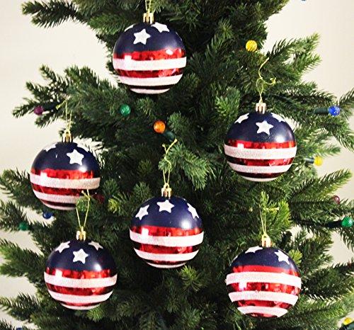 Festive Season Stars & Stripes Shatterproof Christmas Ball Ornaments, Tree Decorations (Set of 6, 80mm)