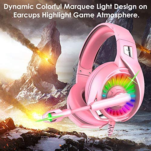 Nivava Gaming Headset for PS4, Xbox One, PC Headphones with Microphone LED Light Mic for Nintendo Switch PS5 Playstation Computer, K7 (Pink)