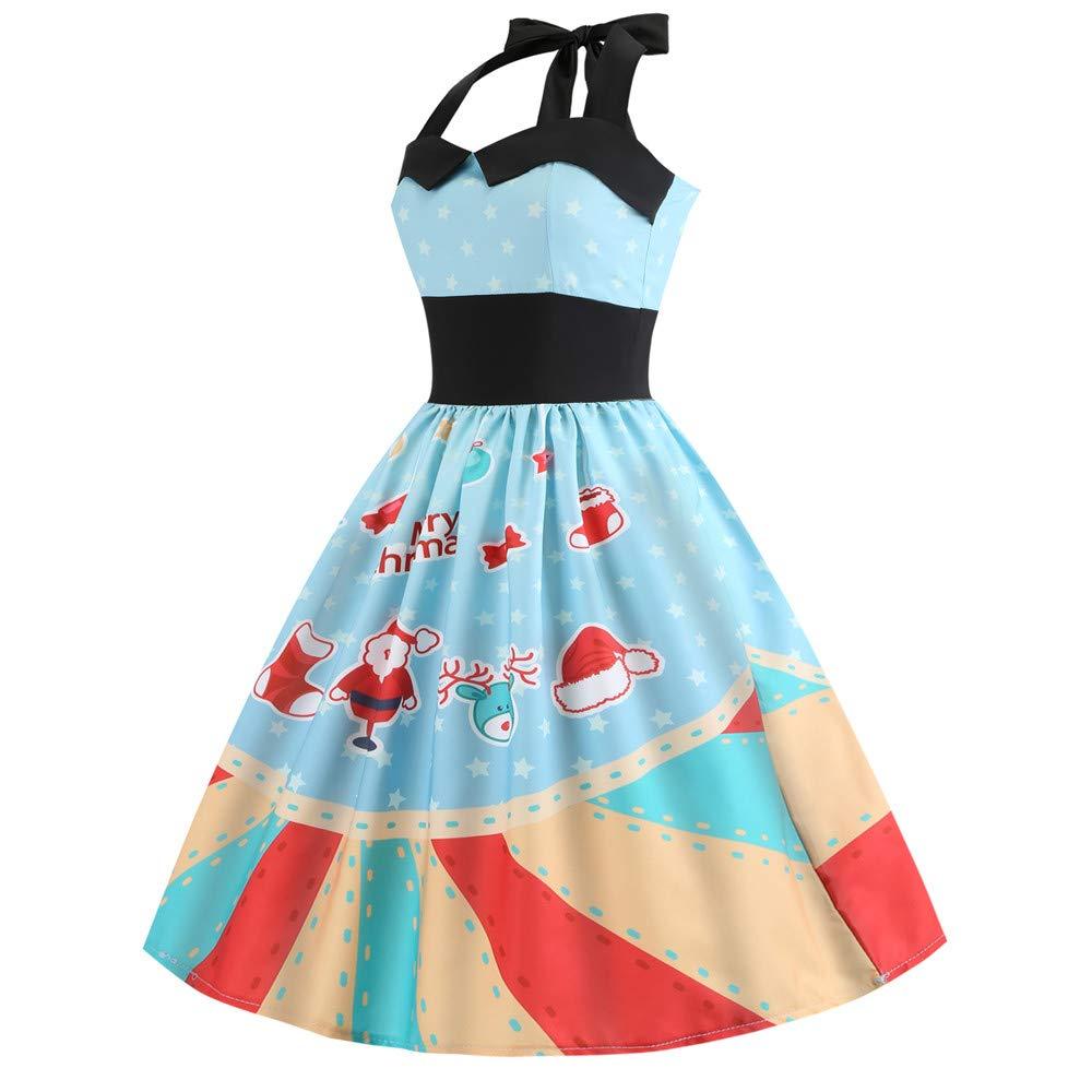 Sumen Women Vintage Christmas Print Halter Sleeveless Evening Party Prom Dress