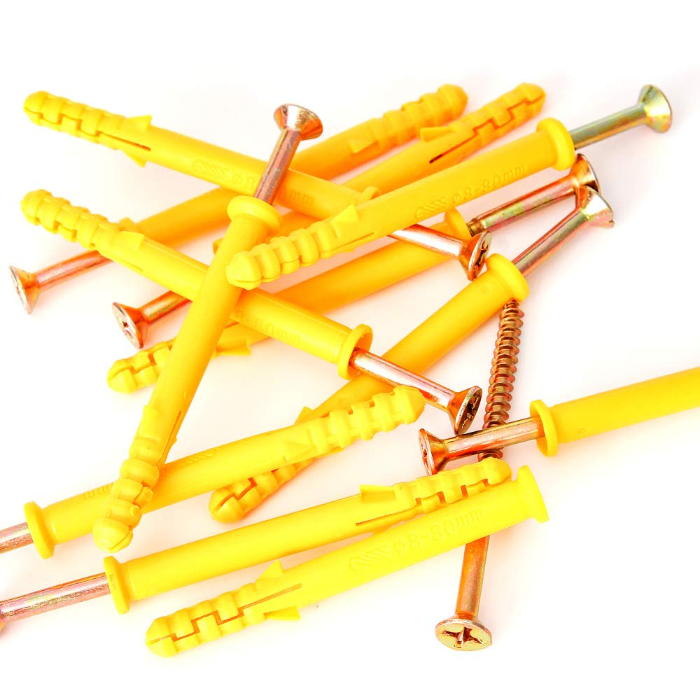 M8x80mm Self Drilling Screws Yellow Wall Expansion Tube Plastic Expansion Pipe with Screws Kit for Concrete Drywall Anchor Wall Plug Frame Fixing Curtains Rods Ect,12PCS