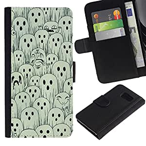 For Samsung Galaxy S6 SM-G920,S-type® White Black Spooky Halloween - Dibujo PU billetera de cuero Funda Case Caso de la piel de la bolsa protectora