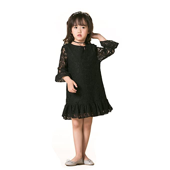 e6c48ae9b9 Girl Dress Lace Toddler Flounce Flower Girls Casual Dresses Sleeves (3T