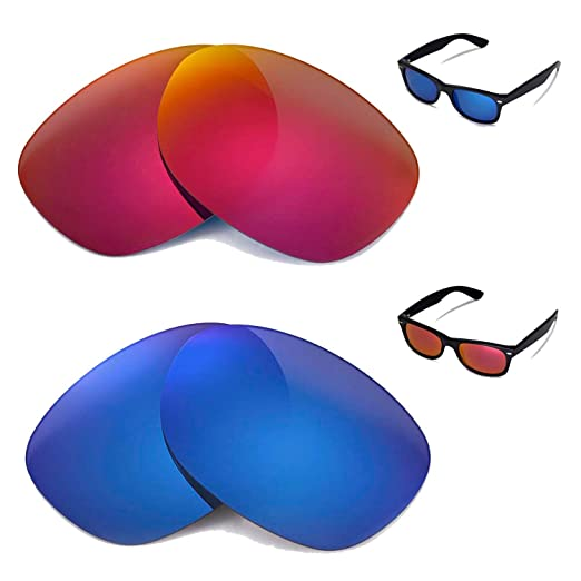 04e1722712 Image Unavailable. Image not available for. Color  Walleva Polarized Fire  Red+Ice Blue Lenses for Ray-Ban Wayfarer RB2132 52mm