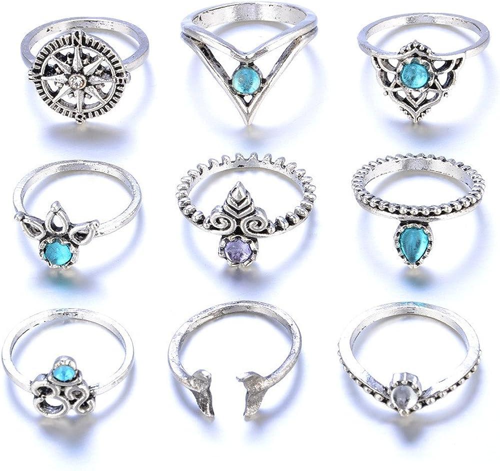 Amazon Com Huaming Fashion Women Ring Vintage Bohemian Rings Blue