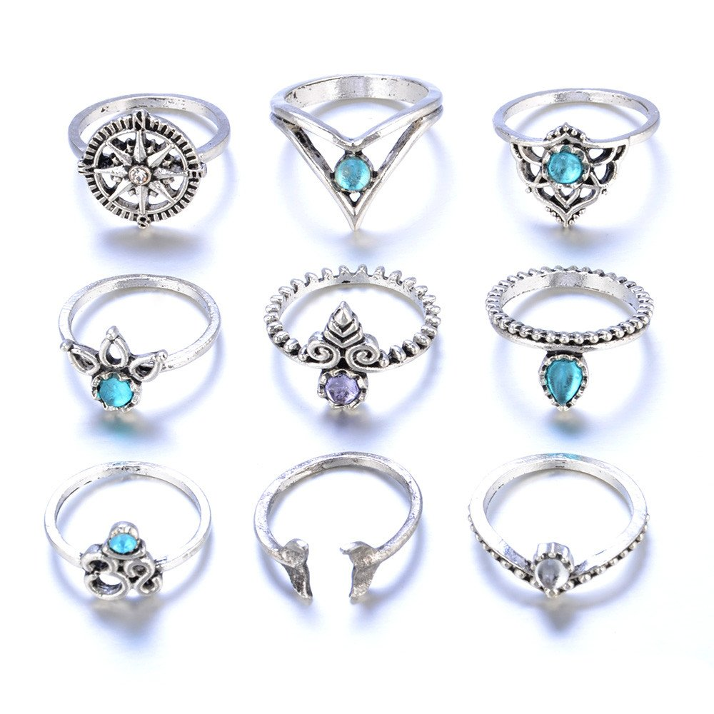 Lethez 9PCS Bohemian Retro Vintage Crystal Joint Knuckle Ring Sets Finger Stack Ring Nail Midi Ring (Silver, One Size)