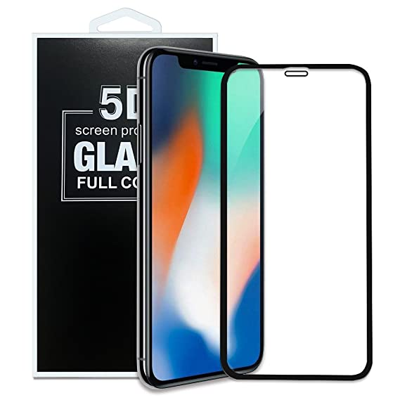newest collection e4eac a09e6 Iphone X Tempered Glass Screen Proctor Durable 5D Glass 9H Full Cover Anti  Fingerprint and Scratches Screen Protector for Apple Iphone X (Black)
