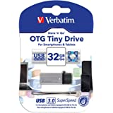 Verbatim バーベイタム microUSB と USB 3.0メモリ 2in1 OTG スマートフォン&タブレット、コンピューター対応 (TINYシリーズ R: 80MB/S、W:25MB/S) (32GB, シルバー色)