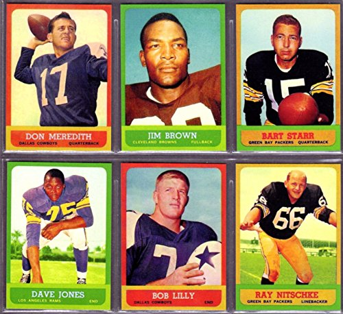 - 1963 Topps Football (6) Card Reprint Lot featueing**Dom Meredith, Jim Brown, Bart Starr, Decan Jones Rookie, Bob Lily Rookie, Ray Nitschke Rookie
