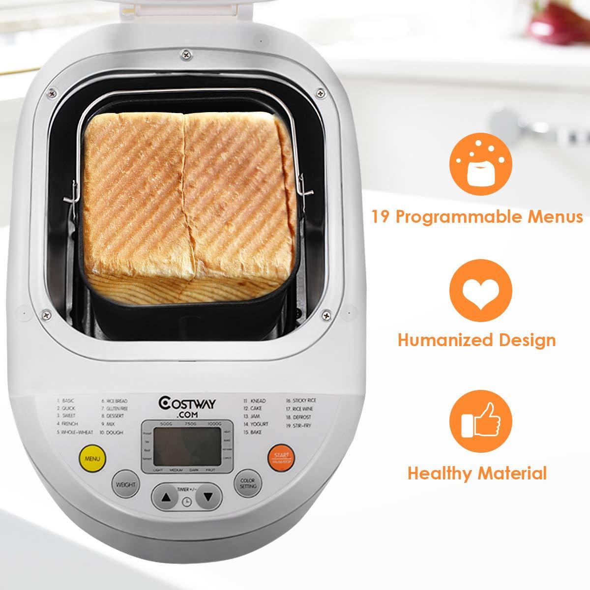 Small Appliances 3 Loaf Sizes 15 Programs 600W COSTWAY 2LB ...