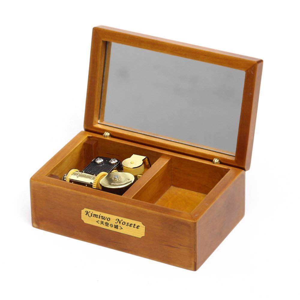 YouTang 18 Note Wind-up Wooden Musical Box with Mirror, Gold Musical Movement, Model M33 (Wood,Melody:Lilium from Elfen Lied)