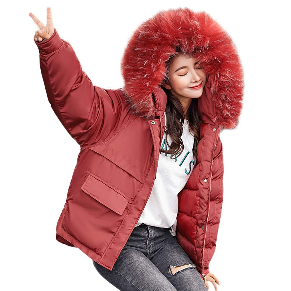 Clearance Women Winter Coat Down, Duseedik Ladies Jacket Fur Hooded Jackets Long Puffer Parka Duseedik -No.9