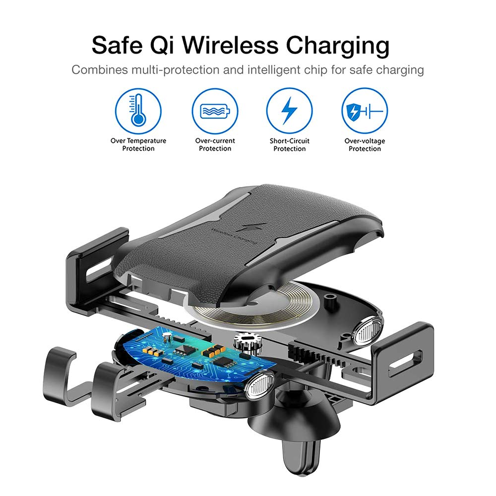 Samsung Galaxy S10 //S10+//S9 //S9+//S8 //S8 Auto-Clamp 10W Qi Fast Charging,Windshield Dash Air Vent Phone Holder Compatible iPhone Xs//Xs Max//XR//X// 8//8 Plus SIZIMA Wireless Car Charger Mount Qi Device