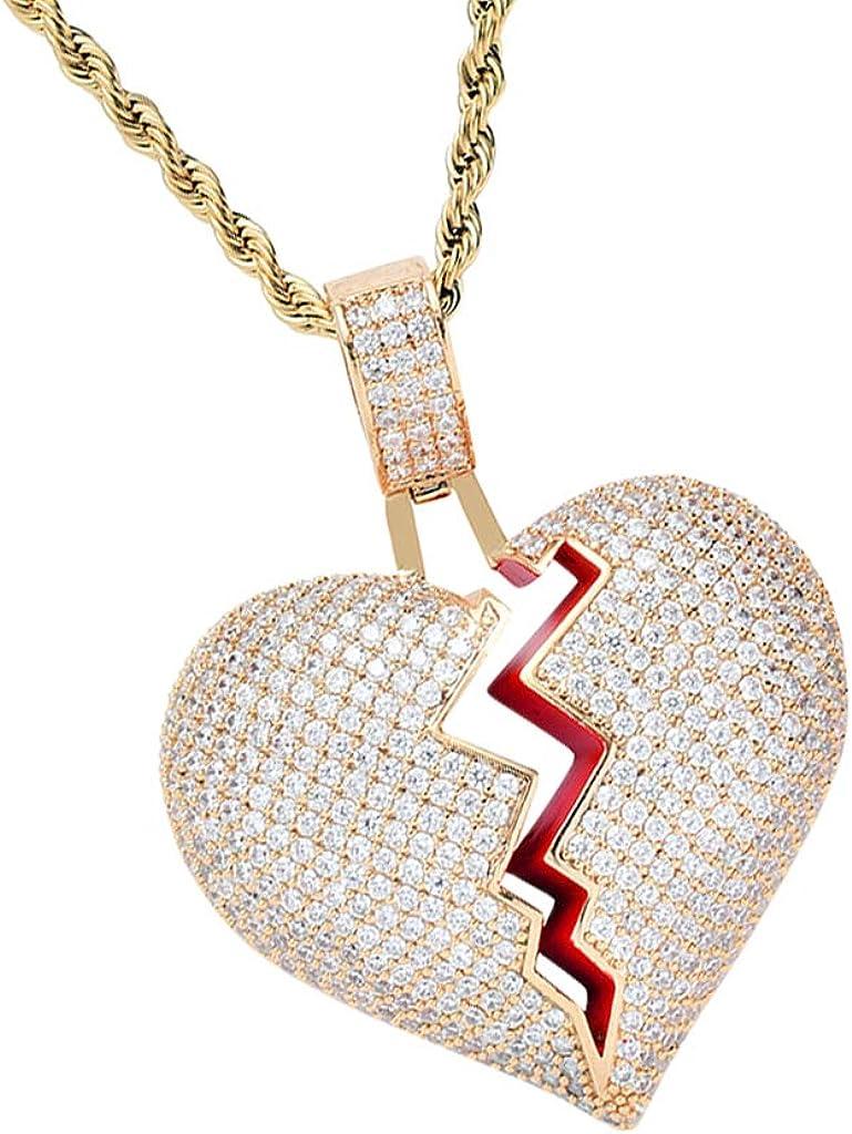 kesoto Heart-Broken Shape Pendant Zircon Hip-hop Necklace