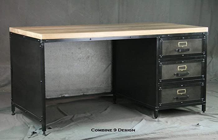 Amazon.com: Modern industrial desk with drawers. Vintage ...
