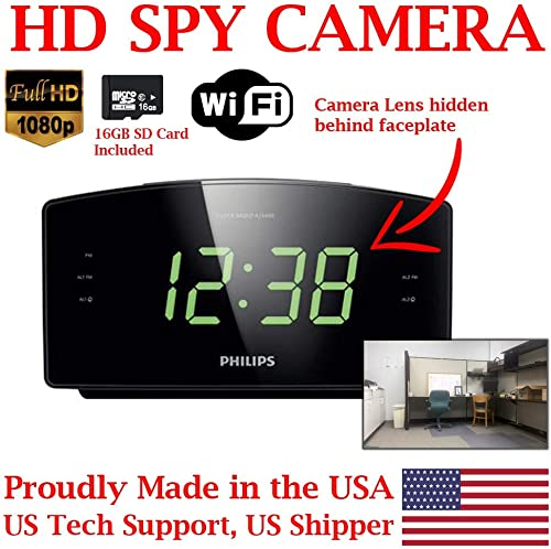 ZEUS CCTV ZCH-PC1080 Full HD 1080P Home Alarm Clock Radio HD Spy Camera Covert Surveillance Hidden Nanny Camera Spy Gadget WI-FI Model w 16GB SD Card