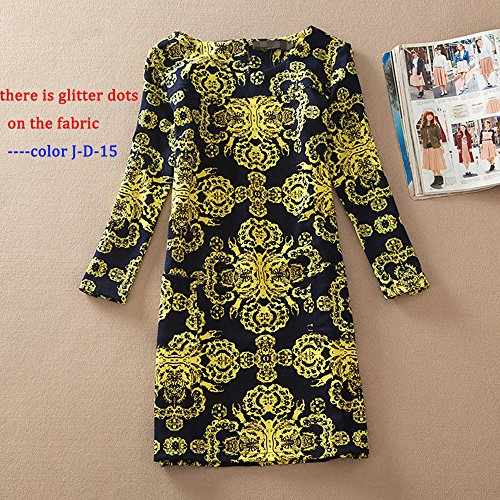 Floral Loose Print A DAYSOFT Vintage 15 Autumn line Tunic Sleeve Women Long Casual d Dress J Shift qWBWt4I